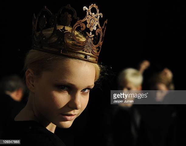 Model waits backstage before walking the runway in the Nicolas Vaudelet Sara Coleman fashion show during the Cibeles Madrid Fashion Week...