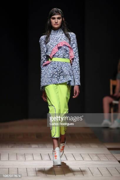 Model walk the catwalk during Aleksandar Protic runway show for Day 3 Lisboa Fashion Week 'ModaLisboa' 2018 on October 13 2018 in Lisbon Portugal