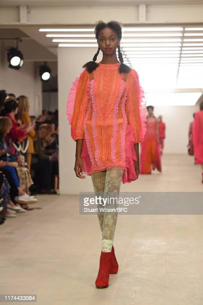 Model walk the runway at the BORA AKSU show during London Fashion Week September 2019 at the BFC Show Space on September 13, 2019 in London, England.