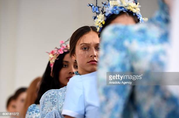 Model walk the runway at the Bora Aksu show during London Fashion Week Spring/Summer collections 2017 in London United Kingdom on September 16 2016