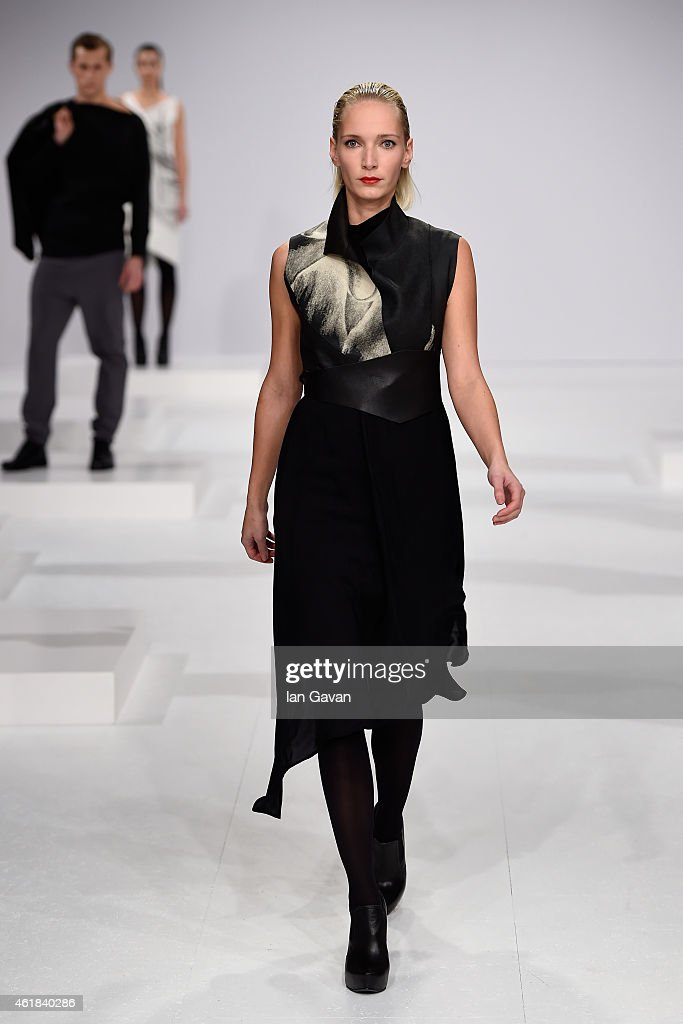 A model walk the runway at the Kaseee show during the Mercedes-Benz Fashion Week Berlin Autumn/Winter 2015/16 at Brandenburg Gate on January 20, 2015 in Berlin, Germany.