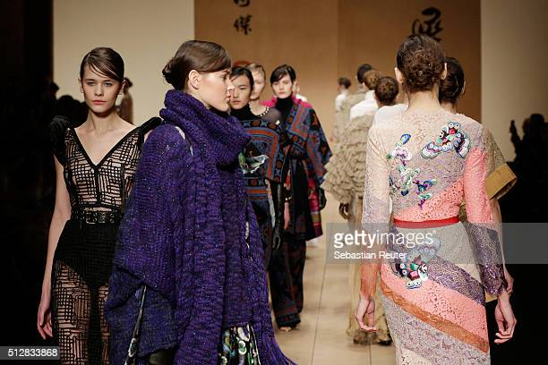 A model walk the runway at the Laura Biagiotti show during Milan Fashion Week Fall/Winter 2016/17 on February 28 2016 in Milan Italy