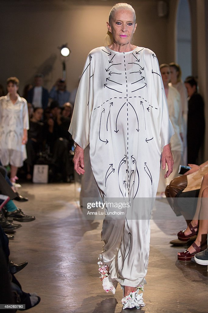 A model walk the runway at the Minna Palmqvist show at Fashion Week in Stockholm SS 15 on August 27, 2014 in Stockholm, Sweden.