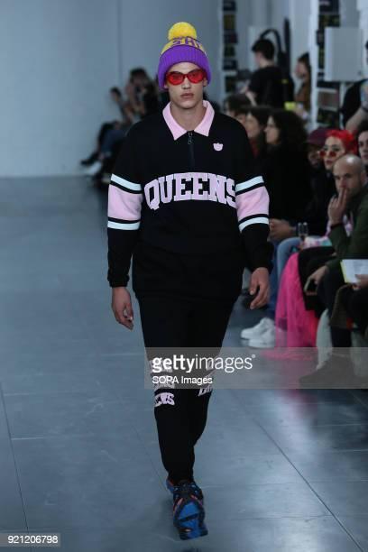 Model walk the runway at the Nicopanda show during London Fashion Week February 2018 at BFC Show Space.