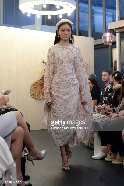 Model walk the runway at the Paula Knorr show during London Fashion Week September 2019 on September 13, 2019 in London, England.