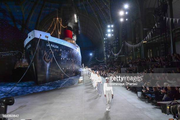Model walk the runway during the Chanel Cruise 2018/2019 Collection at Le Grand Palais on May 3 2018 in Paris France