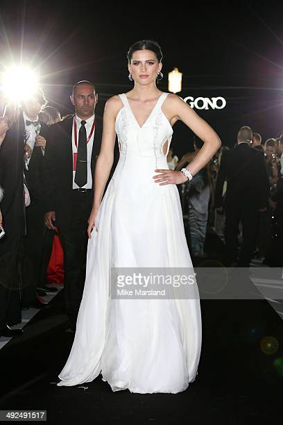 A model walk the runway during the De Grisogono dinner party in collaboration with Gyunel during Cannes film festival at Hotel du CapEdenRoc on May...