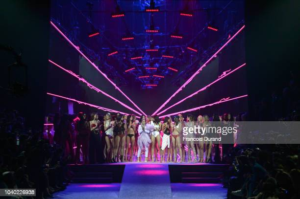 Model walk the runway during the ETAM show as part of the Paris Fashion Week Womenswear Spring/Summer 2019 on September 25 2018 in Paris France