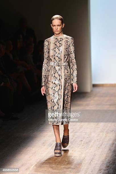 A model walk the runway during the Salvatore Ferragamo show as a part of the Milan Fashion Week Womenswear Spring/Summer 2015 on September 21 2014 in...