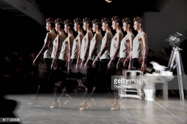 Model walk the runway for Chocheng during New York Fashion Week The Shows at Industria Studios on February 11 2018 in New York City