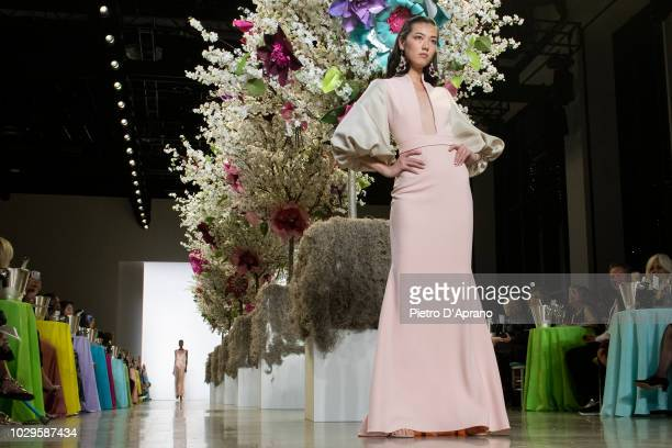 Model walk the runways at Badgley Mischka - Runway during New York Fashion Week: The Shows at Gallery I at Spring Studios on September 8, 2018 in New...