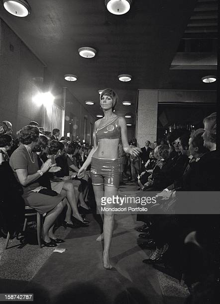 Model walking down the catwalk for the opening of the Pierre Cardin centre in Milan Milan 1969