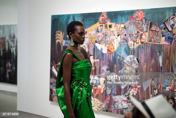 A model walking for the designer David Tlale during a show on August 1 2015 at Gallery MOMO in Cape Town South Africa David Tlale is one of South...