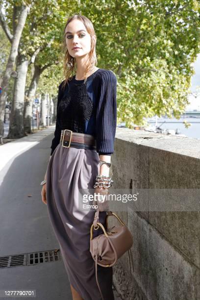 Model walking on the street during Chloe fashion show during Paris Women's Fashion Week Spring/Summer 2021 on October 1, 2020 in Paris, France.