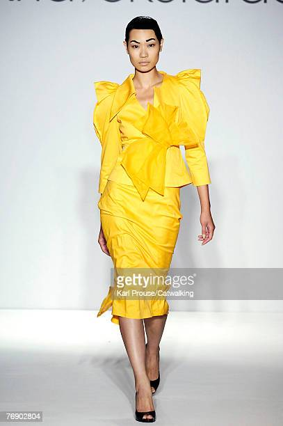A model walks along the catwalk during the Ana Sekularac Spring Summer 2008 collection show part of London Fashion Week on the 17th of September 2007...