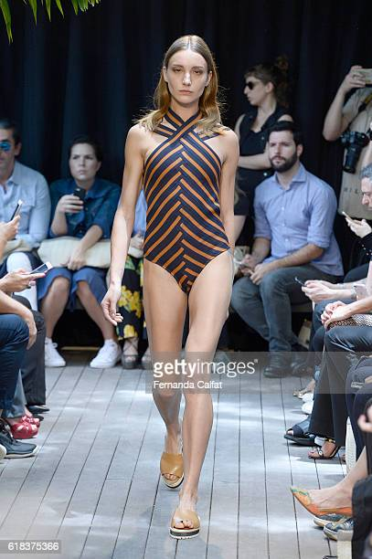 A model walks at Agua de Coco Runway SPFW Winter 2017 at Artefacto Country Beach Store on October 26 2016 in Sao Paulo Brazil