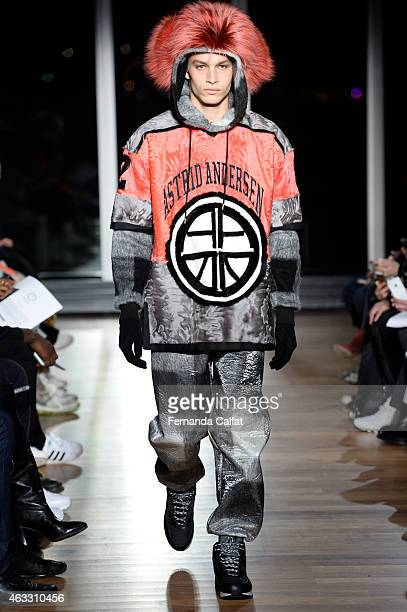 A model walks at Astrid Andersen Runway at MADE Fashion Week Fall 2015at The Standard on February 12 2015 in New York City