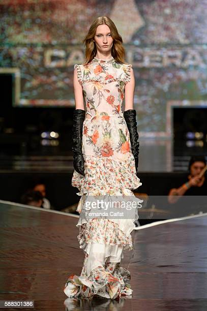 Model walks at Cavalera Fashion Show Nossa Moda de Viola Runway Summer 2017 on September 9, 2016 at Tom Brasil in Sao Paulo, Brazil.