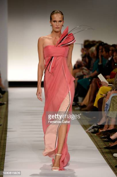 A model walks at Dennis Basso Runway September 2018 at New York Fashion Week at Cipriani 42nd Street on September 10 2018 in New York City