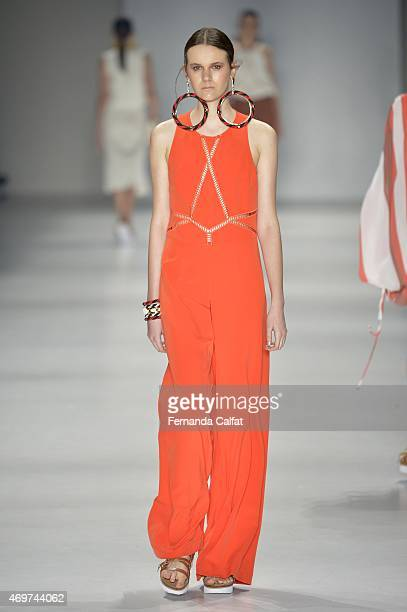 A model walks at Juliana Jabour runway during SPFW Summer 2016 at Parque Candido Portinari on April 14 2015 in Sao Paulo Brazil