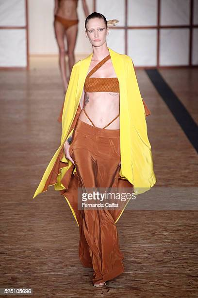 A model walks at Lenny Niemeyer Runway at SPFW Summer 2017 at Ibirapuera's Bienal Pavilion on April 27 2016 in Sao Paulo Brazil