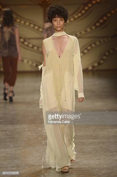 A model walks at Lilly Sarti Runway at SPFW Summer 2017 at Ibirapuera's Bienal Pavilion on April 25 2016 in Sao Paulo Brazil