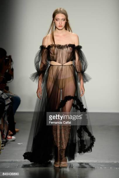 A model walks at Lisa N Hoang Runway September 2017 at New York Fashion Week at Pier 59 on September 10 2017 in New York City
