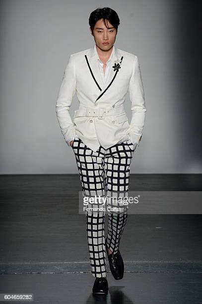 A model walks at Miguel Vieira Runway September 2016 at New York Fashion Week at Pier 59 Studios on September 13 2016 in New York City