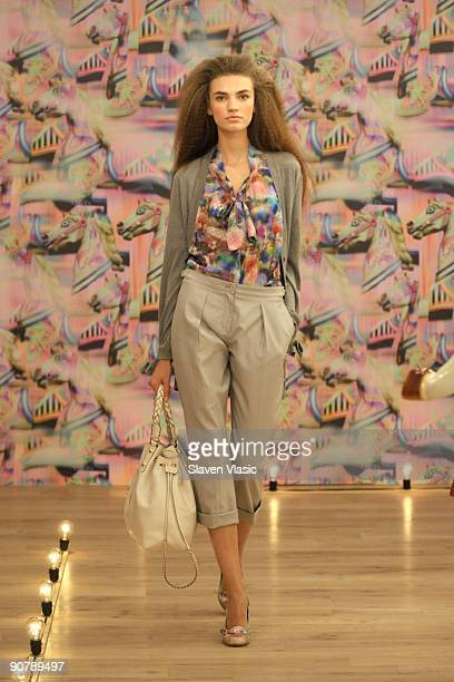 A model walks at Mulberry presentation at Soho House Library on September 15 2009 in New York New York