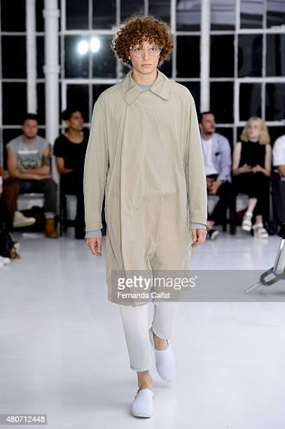 Model walks at N. Hoolywood Runway at New York Fashion Week: Men's S/S 2016 at Studio 450 on July 14, 2015 in New York City.