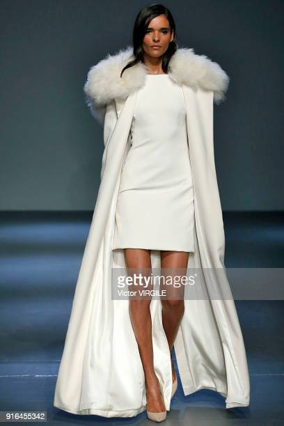 A model walks at Pamella Roland Ready to Wear Fall/Winter 20182019 fashion show on February 2018 New York Fashion Week at Pier 59 on February 8 2018...