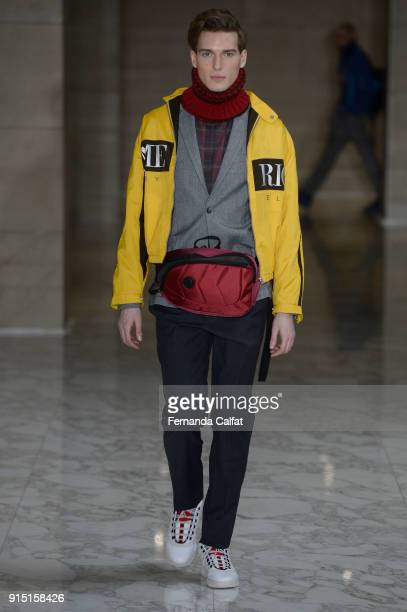 A model walks at Perry Ellis Runway on February 2018 at New York Fashion Week Mens' at The Hippodrome Building on February 6 2018 in New York City