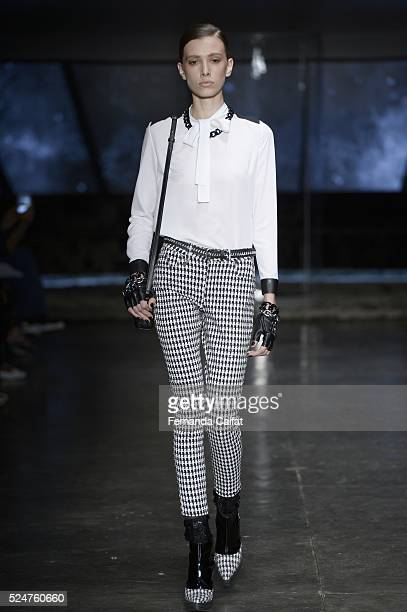 Model walks at Riachuelo Runway at SPFW Summer 2017 at Ibirapuera's Bienal Pavilion on April 26, 2016 in Sao Paulo, Brazil.