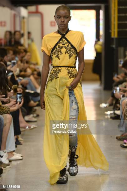 A model walks at Samuel Cirnansck Runway at SPFW N44 Winter 2018 at Ibirapuera's Bienal Pavilion on August 31 2017 in Sao Paulo Brazil