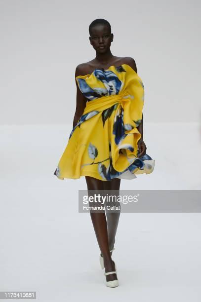 Model walks at the Carolina Herrera Runway during New York Fashion Week at Garden of the Battery on September 9, 2019 in New York City.
