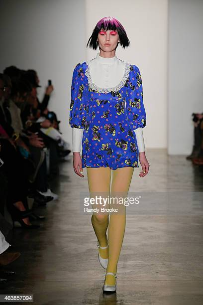 A model walks at the Jeremy Scott Runway during MADE Fashion Week Fall 2015 at Milk Studios on February 18 2015 in the Brooklyn borough of New York...