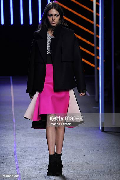 Model walks at the Milly By Michelle Smith Fashion Show during Mercedes-Benz Fashion Week Fall 2015 at ArtBeam on February 16, 2015 in the Brooklyn...