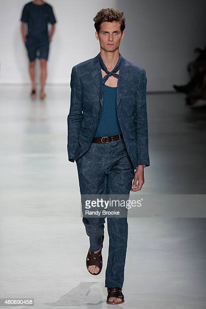 Model walks at the Todd Snyder Runway Show during New York Fashion Week: Men's S/S 2016 at Skylight Clarkson Sq on July 14, 2015 in New York City.