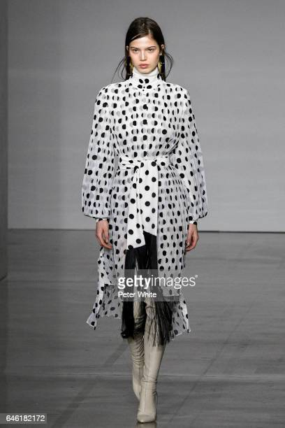 A model walks at the Zimmermann Ready to Wear fashion show during New York Fashion Week Fall Winter 20172018 on February 13 2017 in New York City