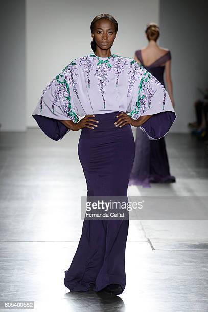 Model walks at Zang Toi Runway September 2016 at New York Fashion Week at Pier 59 Studios on September 13, 2016 in New York City.