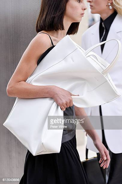A model walks bags detail the runway during the Celine show as part of the Paris Fashion Week Womenswear Spring/Summer 2017 on October 2 2016 in...
