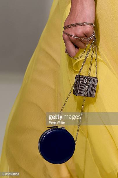 A model walks bags detail the runway during the Hermes show as part of the Paris Fashion Week Womenswear Spring/Summer 2017 on October 3 2016 in...