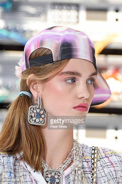 A model walks beauty runway detail the runway during the Chanel show as part of the Paris Fashion Week Womenswear Spring/Summer 2017 on October 4...
