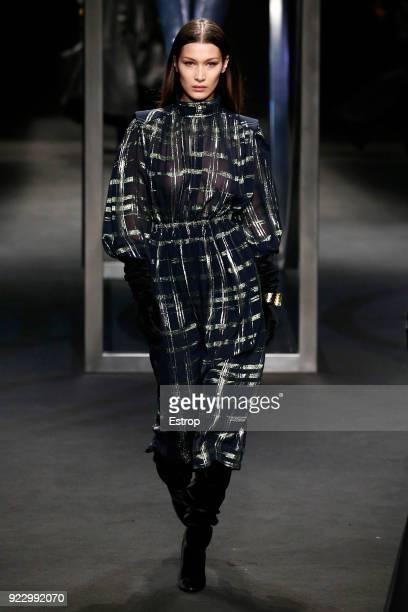 Model walks Bella Hadid the runway at the Alberta Ferretti show during Milan Fashion Week Fall/Winter 2018/19 on February 21 2018 in Milan Italy