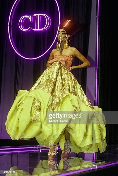 A model walks down a runway during Christian Dior's Haute Couture Spring/Summer 2004 show on Jaunary 19 2004 in Paris France