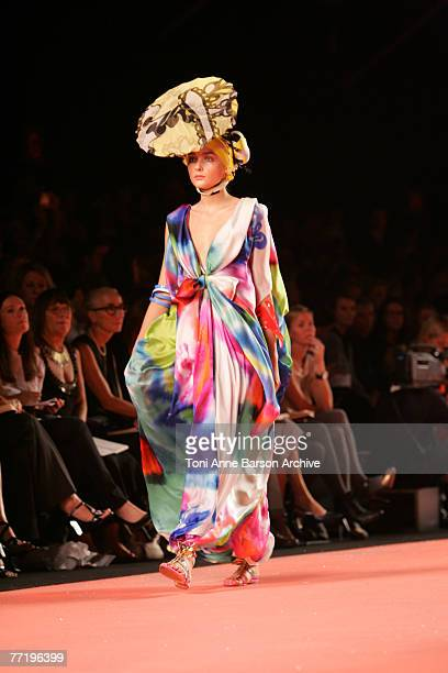 Model walks down the catwalk at the Christian Lacroix fashion show during the Spring/Summer 2008 Paris Fashion Week on October 3rd 2007 in Paris