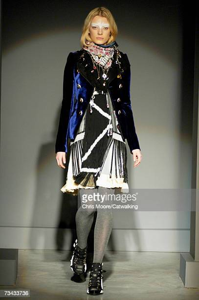 A model walks down the catwalk during the Balenciaga fashion show as part of Paris Fashion Week Autumn/Winter 2008 on February 27 2007 in Paris France