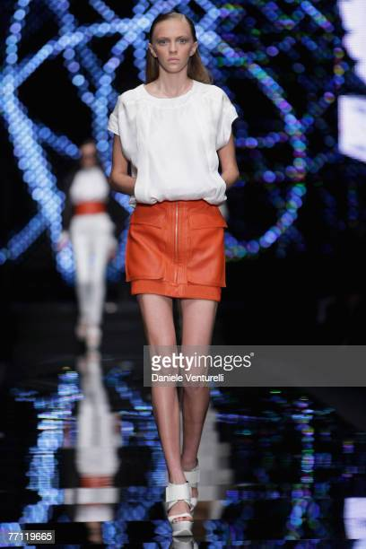 A model walks down the catwalk during the Belstaff show as part of Milan Fashion Week Spring Summer 2008 on September 27 2007 in Milan Italy