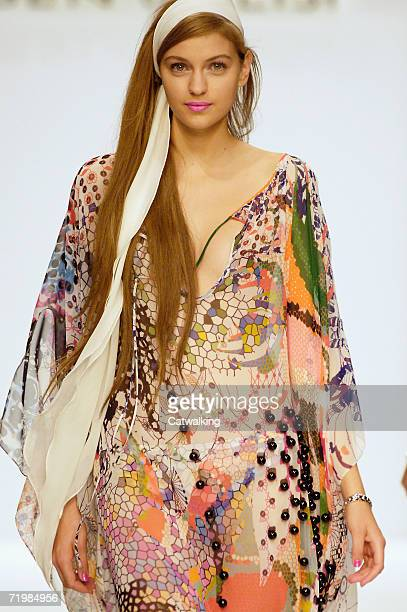 A model walks down the catwalk during the Ben de Lisi Fashion show as part of London Fashion Week Spring/Summer 2007 in the BFC tent on September 18...