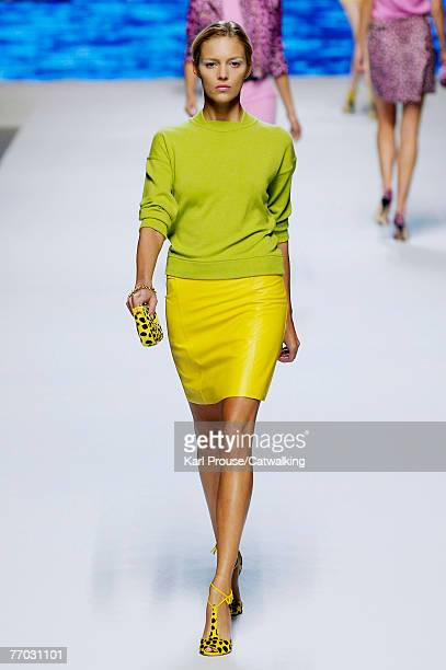 A model walks down the catwalk during the Blumarine show as part of Milan Fashion Week Spring Summer 2008 on September 24 2007 in Milan Italy